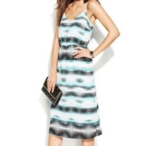 Vince Camuto Teal Linear Echoes Chiffon Midi Dress